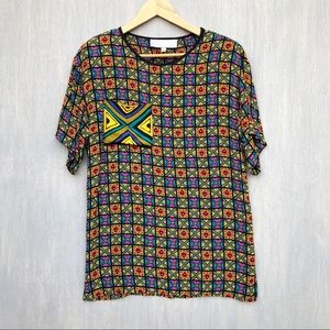 Vintage bright printed tunic top lightweight S